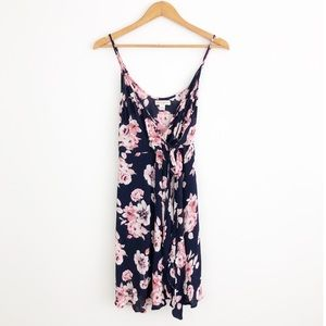 Band of Gypsies Navy & Blush Floral Wrap Dress S